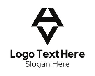 A - Black Letter A & V Boutique logo design