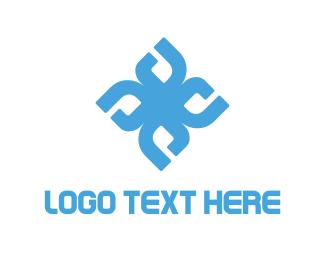 Letter D - Tech Flower logo design