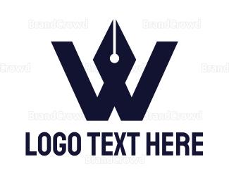 Write - Blue Pen W logo design