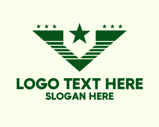 Coat Of Arms - Green Star Army Letter V logo design