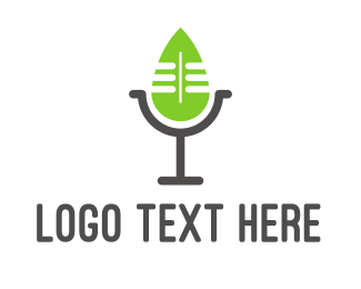 Green Microphone - Eco Podcast logo design