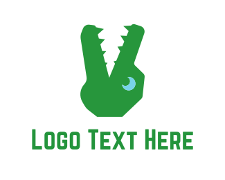 Crocodile - Green Alligator logo design