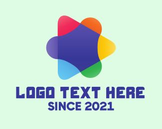 Production Studio - Colorful Media Play Button logo design