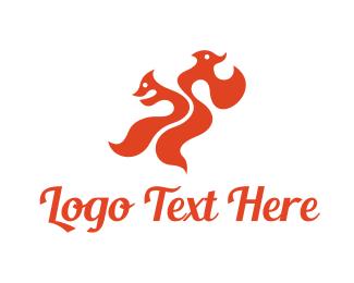 Two - Dual Fox logo design