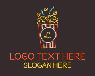 Popcorn - Neon Popcorn Lettermark logo design