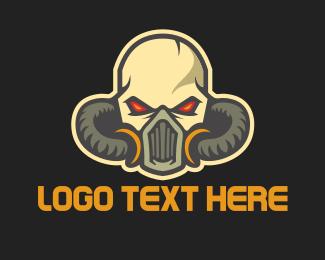 Sticker - Skull Mask Head logo design