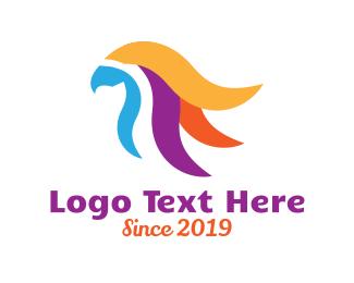 Puerto Rico - Colorful Eagle Feather logo design