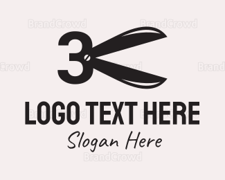 Alteration - Number 3 Scissors  logo design