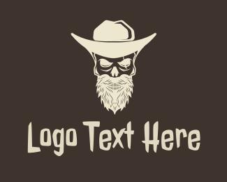 Outlaw - Cowboy Skeleton logo design