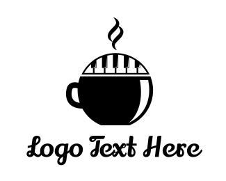 Black Cup - Piano Keys Coffee logo design