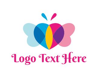 Dating App - Butterfly & Heart logo design
