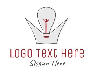 Bulb -  Crown King of Ideas logo design