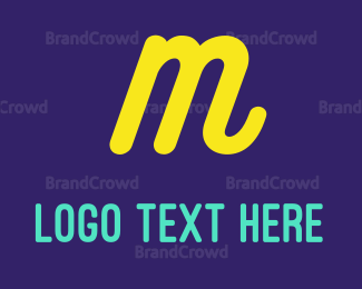 Purple And Yellow - Cursive Yellow Letter M logo design