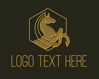 Quality - Horse Gallop Badge logo design