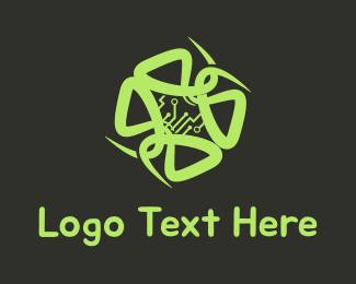 Mind - Circuit Flower logo design