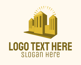 Property Development - Gold Fancy Building logo design