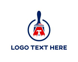 America - Blue Construction  logo design
