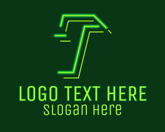 Game Vlogger - Neon Retro Gaming Letter T logo design