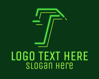 Fortnite - Neon Retro Gaming Letter T logo design