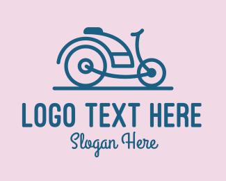 Vintage Bicycle - Vintage Blue Motorcycle Bicycle logo design