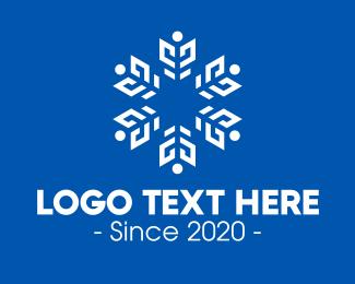 Blizzard - White Radial Snowflake logo design