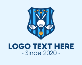 Golf Ball - Blue Golf Tournament Shield logo design