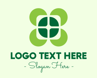 Flower Stand - Lucky Four Leaf Clover logo design