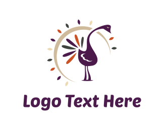 Peacock - Purple Peacock logo design