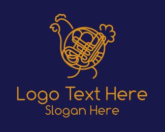 Horn - Chicken French Horn logo design