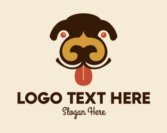 Dog Head - Happy Puppy Face  logo design