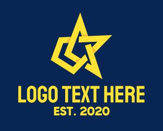 Production Studio - Yellow Arrow Star  logo design