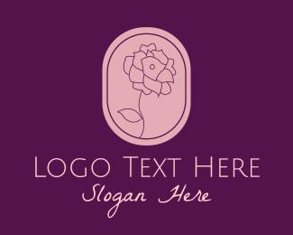 Beauty Flower - Pink Blooming Flower Emblem logo design