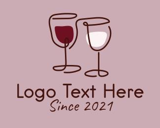 Restaurant - Minimalist Wine Glass logo design