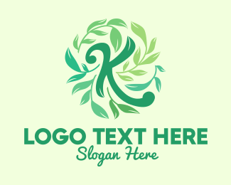 Healthy Lifestyle - Green Leaves Letter K logo design