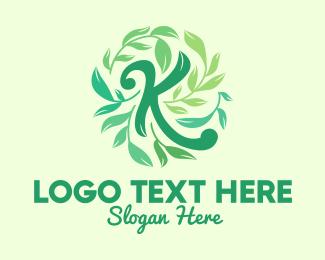 Calligraphy - Green Leaves Letter K logo design