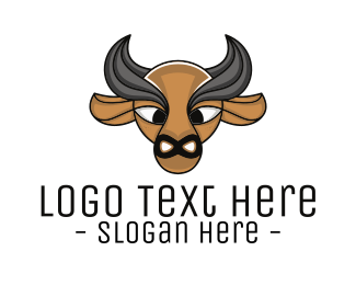 Bison - Brown Buffalo Outline logo design