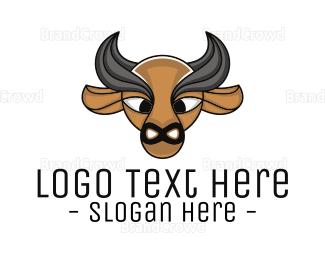 Buffalo - Brown Buffalo Outline logo design