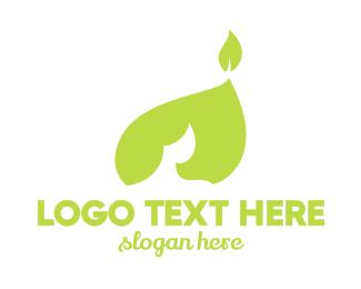 Green Leaf Flame Logo