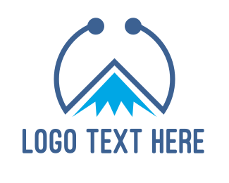 Everest - Blue Tech Mountain logo design
