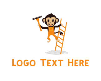 Brown Orange - Ladder & Monkey Cartoon logo design