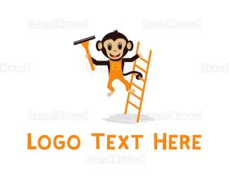 Cleaning Services - Ladder & Monkey Cartoon logo design