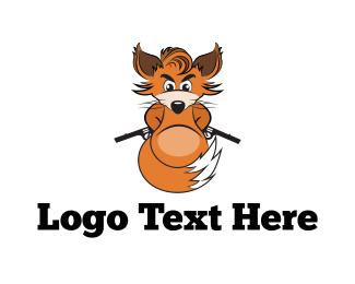 Gun - Armed Fox logo design