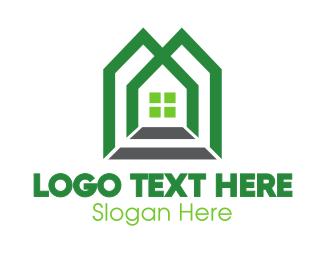 Mansion - Green Shape House logo design