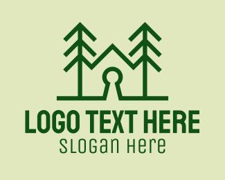 Tree - Forest Home Keyhole  logo design