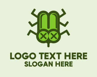 Cockroach - Green Dead Bug logo design