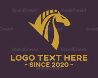 Horse - Gold Horse  logo design