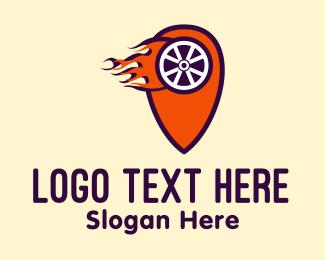 Fire - Blazing Wheel Locator logo design