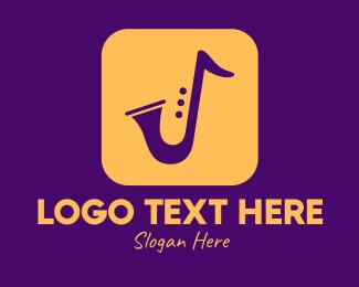 Saxophone - Golden Saxophone Mobile Application logo design