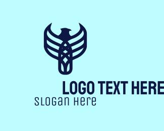 Animal - Blue Eagle Line Art logo design