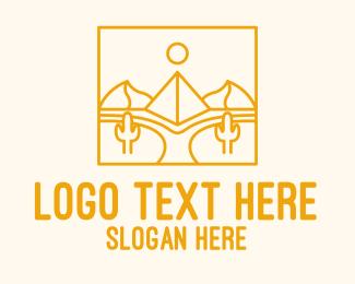 Line Art - Golden Pyramid Line Art logo design